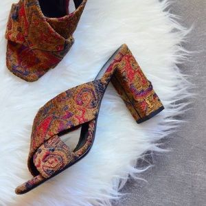 Saint Laurent Loulou Tapestry Mules/Slides